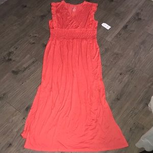 Coral Maxi Dress.  Has faux wrap chest, Side vents